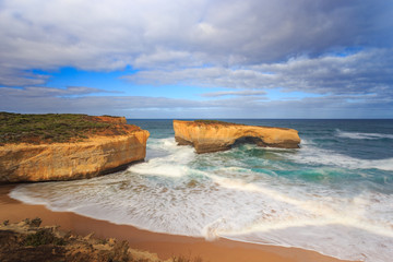 Long exposure image of Very Big rock in the sea, Aerial view of London Bridge on the Great Ocean Road in Victoria, Australia famous attraction of the Port Campbell National Park.