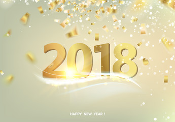 Happy new year card over gray background with golden confetti. Text sign 2018 year. Vector illustration.