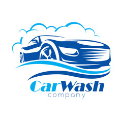car wash stylized vector symbol, design elements for logo template