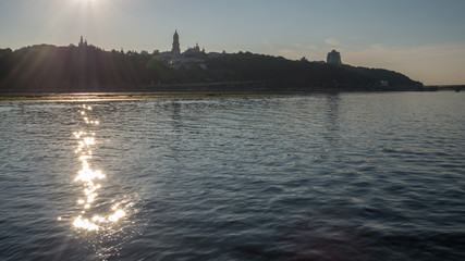Beautiful view of Kiev river Dnipro, Ukraine