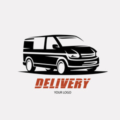 delivery and shipping service logo template, minivan stylized symbol
