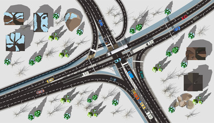 Top view high speed autobahn with cars and trucks in winter with white snow
