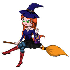 Cute redheaded witch flying on a broom isolated on a white background