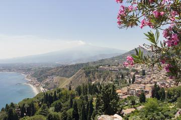 The coastline of Taormina in Sicily, Italy