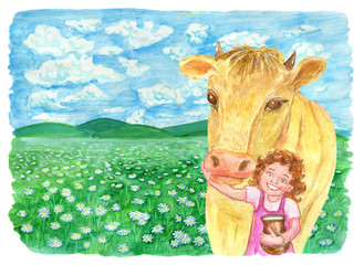 Cow with little girl in the field and copy space