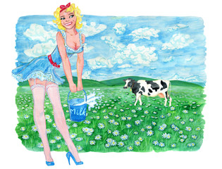 Pinup girl in full length holding bucket of milk against the background of field and cow