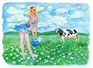 Pinup girl holding bucket of milk and cow on the grassland