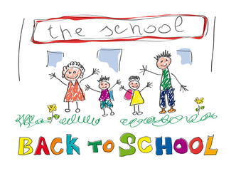 Back to school. Vector drawing made by a child, happy children and teachers