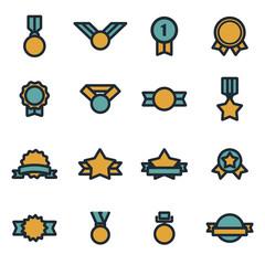 Vector flat award medal icons set
