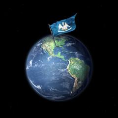 Drapeau du Louisiane (USA) sur la planète Terre