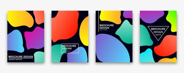 Brochure design with trendy neon gradients. Colorful vector illustration.