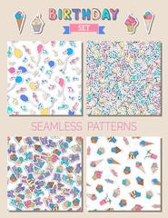 Vector birthday set of seamless patterns.