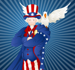 Uncle Sam with Bird Vector