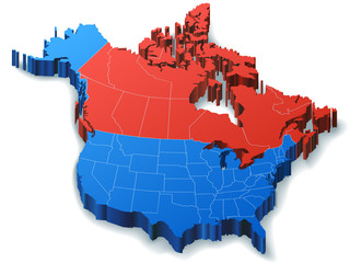 North America 3D Map