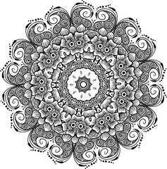 Drawing of a abstract vector with floral round lace mandala, decorative element in ethnic tribal style, black line art on a white background