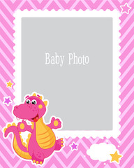 Photo Frame Design For Kids With Dinosaur. Decorative Template For Baby Vector Illustration. Birthday Children Photo Framework With Place For Photo. Sample For the Children.