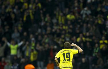 BVB Dortmund's Kevin Grosskreutz celebrates after he scored against Hertha Berlin