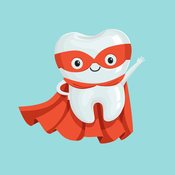 Cute healthy cartoon superhero tooth character, childrens dentistry concept vector Illustration