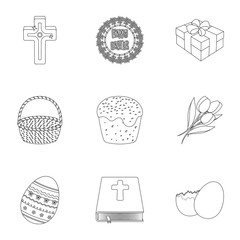 Easter cake, egg, chicken, rabbit, butterfly and other attributes. Easter set collection icons in outline style vector symbol stock illustration web.