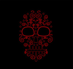 Day of the dead or Halloween skull icon, neon color vector