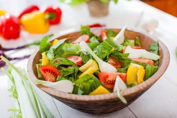 vegetable salad bowl on kitchen table, balanced diet