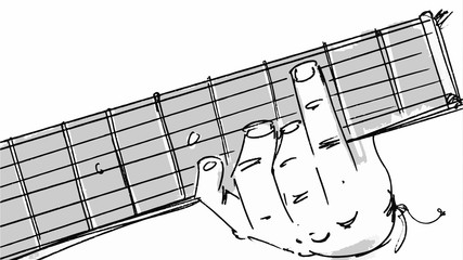 Hand playing on a guitar detailed sketch Vector for storyboard, cartoon, projects