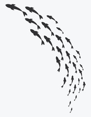 Silhouettes of groups of sea fishes. Colony of small fish. Icon with river taxers. Tattoo.