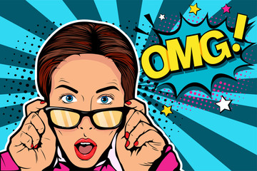 Wow pop art face. Sexy surprised young caucasian woman with open mouthin glasses and Wow speech bubble. Vector colorful background in pop art retro comic style.