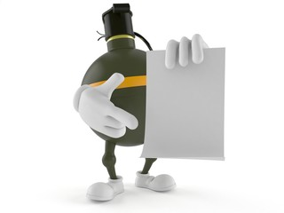 Hand grenade character holding blank sheet of paper