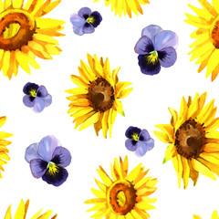 Watercolor sunflower pattern