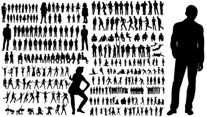collection of silhouettes of people men and women Fototapete