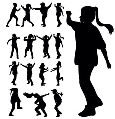 Vector, isolated, a collection of silhouettes of children dancing