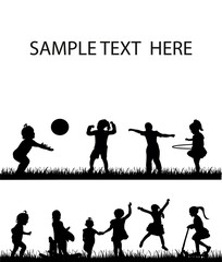 isolated, a collection of silhouettes of children, childhood, play