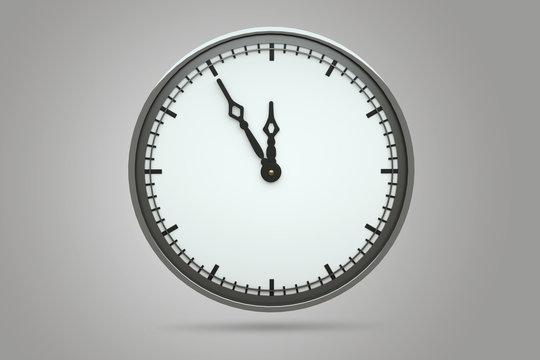 Uhr steht auf fünf vor zwölf