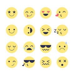 Set emotions icons for applications and chat. Emoticons with different emotions isolated on white background.