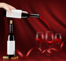 Vector illustration, bright realistic poster with a hand holding a glass wine bottle and pouring red wine into a glasses. Template, moc up for advertising, design, branding