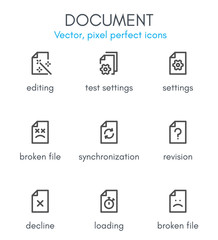Document theme, line icon set