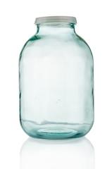 Big empty glass jar on white background