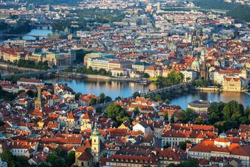 Panoramic view of Prague's evening and Charles Bridge. Czech Republic.