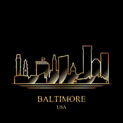 Gold silhouette of Baltimore on black background