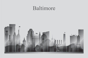 Baltimore city skyline silhouette in grayscale