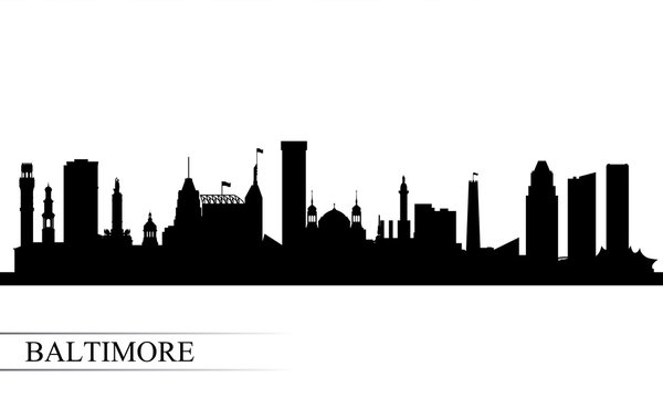 Baltimore city skyline silhouette background