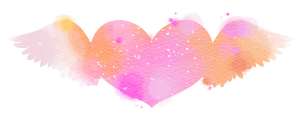 Valentines day heart with wings pink watercolor icon isolated on White Background