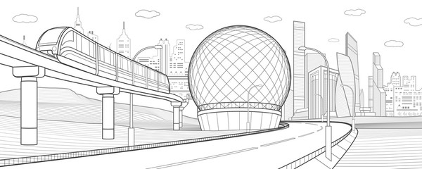 City infrastructure and transport illustration. Monorail railway. Train move over bridge. Spherical building. Modern city. Towers and skyscrapers. Black lines on white background. Vector design art