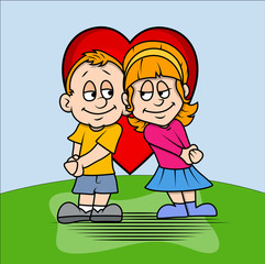 Cartoon Kid Couple Characters