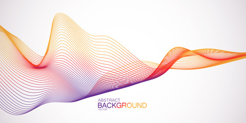 3D abstract colorful wireframe wave.