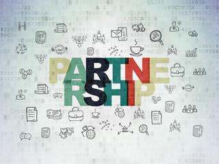 Finance concept: Partnership on Digital Data Paper background