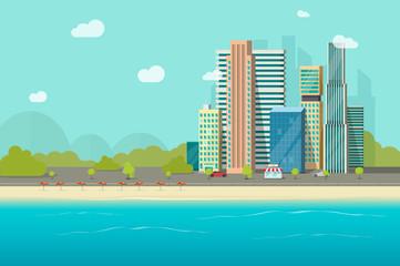 Big city near ocean beach vector illustration design, flat cartoon high city skyscraper buildings from sea view, modern town landscape, urban cityscape or shore