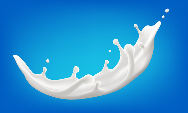 big splash of milk vector realistic illustration for product design or advertising needs