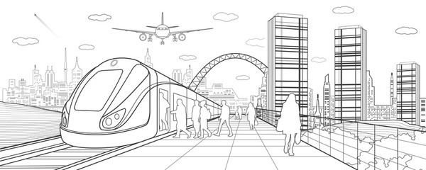 City and transport illustration. Passengers get on train, people at station. Airplane fly. Modern town on background, towers and skyscrapers. Black lines. Vector design art